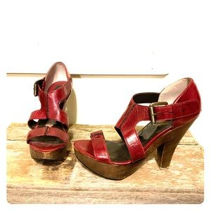 Max Studio red leather and wood heels.